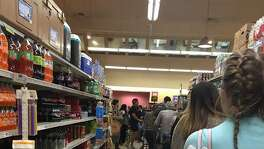 Shoppers lined up at the HEB in Lincoln Heights on Monday, Jan. 15 to stock up in advance of winter storm Inga, which shuttered most of the city Tuesday.