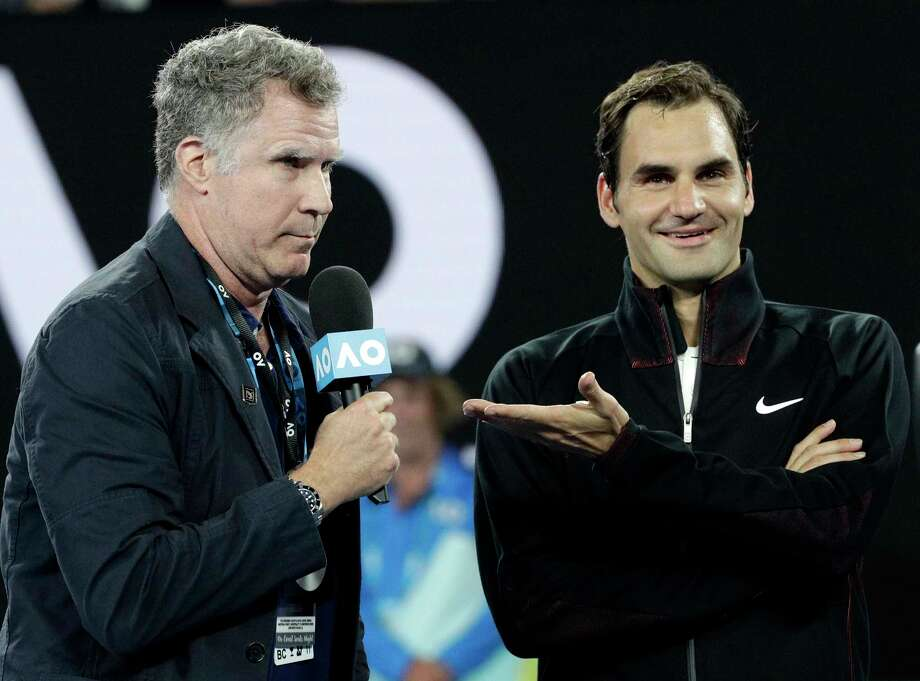 Ron Burgundy, aka Will Ferrell, conducts an interview with Roger Federer after his first-round victory Tuesday over Aljaz Bedene. Photo: Dita Alangkara, STF / Copyright 2018 The Associated Press. All rights reserved.