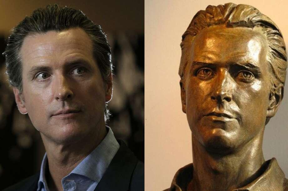 The bronze bust of former San Francisco Mayor Gavin Newsom won't be gracing City Hall any time soon.