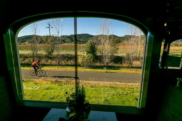 The Napa Valley Wine Train takes passengers to winery tasting rooms in Napa, Calif.  on December 17th, 2017.