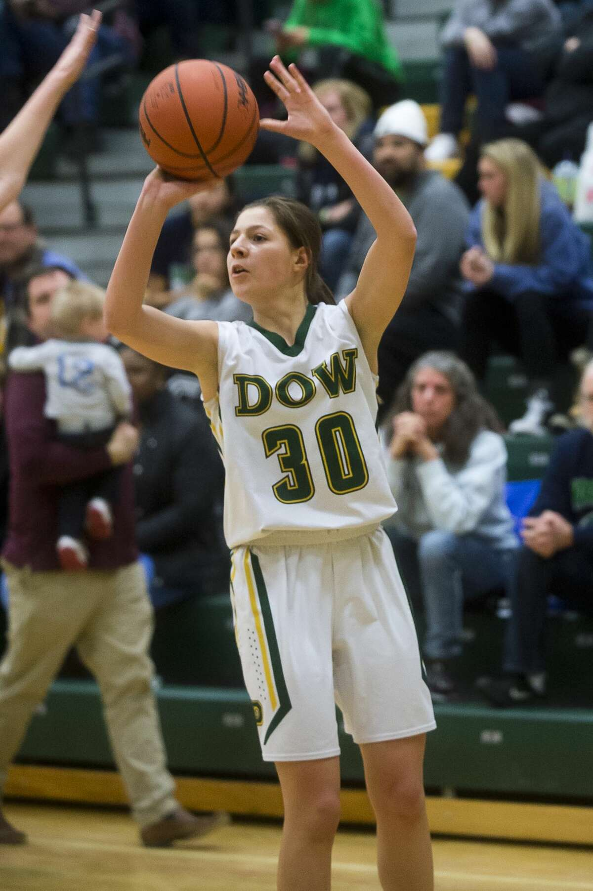 Dow freshman Katelyn Murray takes a shot during the Chargers' game against Saginaw Heritage on Tuesday, Jan. 16, 2018 at H. H. Dow High School. (Katy Kildee/kkildee@mdn.net)