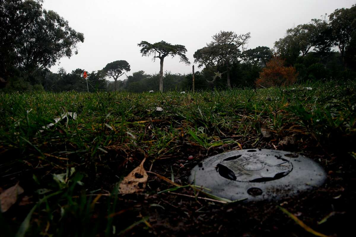 A sprinkler at the Golden Gate Park Golf Course, Tuesday, Jan. 16, 2018, in San Francisco, Calif.