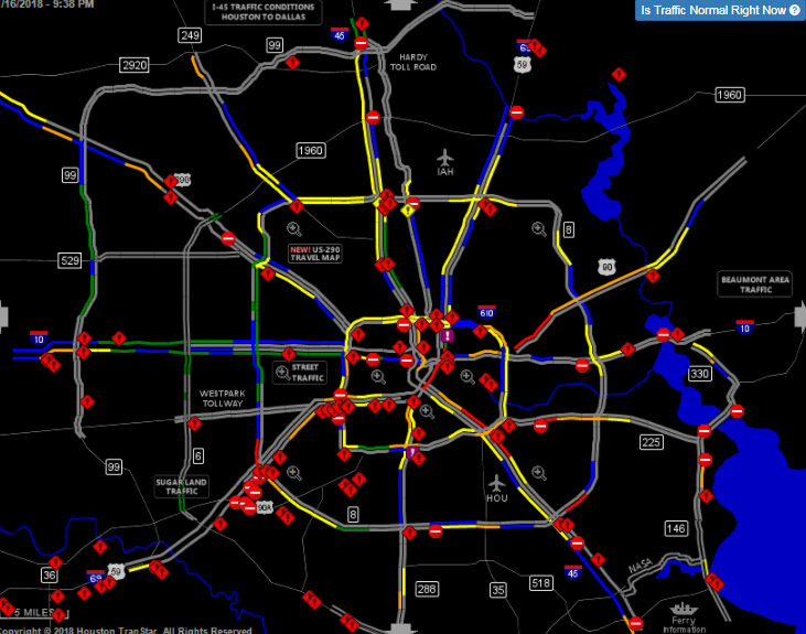 Map shows how Houston drivers are struggling to navigate icy roads