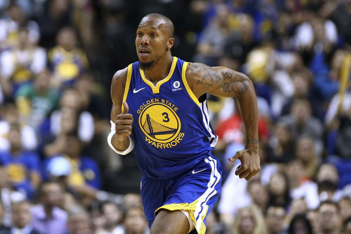 David West of the Golden State Warriors in action during the game between the Minnesota Timberwolves and the Golden State Warriors as part of 2017 NBA Global Games China at Mercedes-Benz Arena on October 8, 2017 in Shanghai, China.