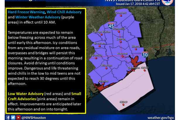 A hard freeze warning is in effect until 10 a.m. Wednesday throughout the Houston area.