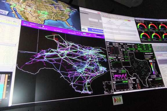 A map of Texas showing the state s transmission lines is a focal point in the control room of the Electric Reliability Council of Texas, which operates most of the state's power grid. The last time the state had to institute rolling blackouts to protect the electric system from overload was in February 2011 during another cold snap that gripped much of Texas.