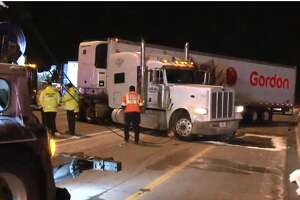 Two trucks jack-knifed early Wednesday on Interstate 45 near Spring Stuebner.