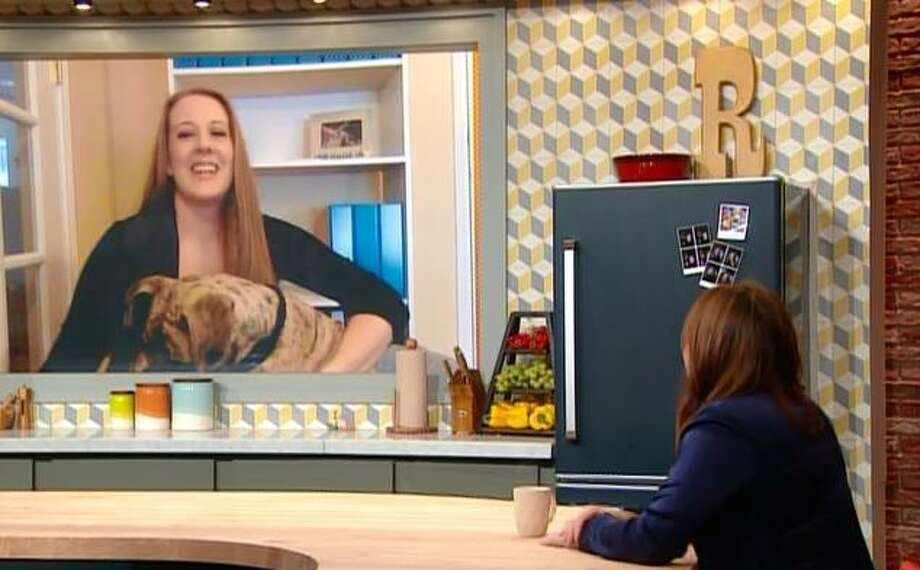 "Squish the rescue dog in San Antonio appears with his owner, veterinarian Danielle Boyd, in a video call segment on ""The Rachael Ray Show"" that airs Thursday, Jan. 18, 2018, at 9 a.m. on KMYS. Ray was so moved by the story of the once-abused dog with the crooked jaw and one eye she gave Boyd a lifetime supply of products from her Nutrish pet food line. Photo: Courtesy ""The Rachael Ray Show"""