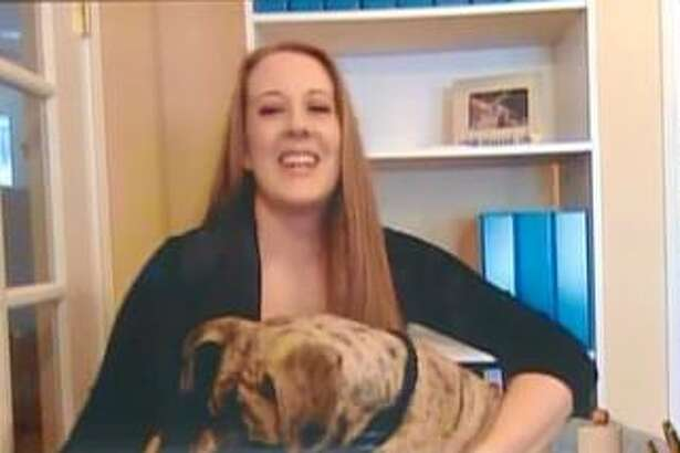 """Squish the rescue dog in San Antonio appears with his owner, veterinarian Danielle Boyd, in a video call segment on """"The Rachael Ray Show"""" that airs Thursday, Jan. 18, 2018, at 9 a.m. on KMYS. Ray was so moved by the story of the once-abused dog with the crooked jaw and one eye she gave Boyd a lifetime supply of products from her Nutrish pet food line."""