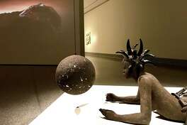 """A view of Wangechi Mutu's sculpture """"She's got the whole world in her,"""" one of the three pieces of her installation """"A Trinity,"""" on view through Feb. 4 at the Museum of Fine Arts, Houston in the show """"On Common Ground: Recent Acquisitions in Contemporary Art."""""""