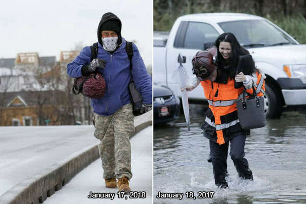 Houston experienced severe weather events during the third week of January in 2017 and 2018, but in 2017 it was an unseasonable flood and in 2018 a hard freeze swept across the metropolis.