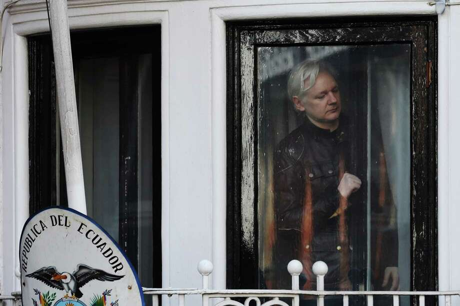 Julian Assange, founder of WikiLeaks, is seen inside of Ecuadoran embassy in London, where he was been confined for most of the past six years. Photo: Bloomberg Photo By Luke MacGregor / © 2017 Bloomberg Finance LP