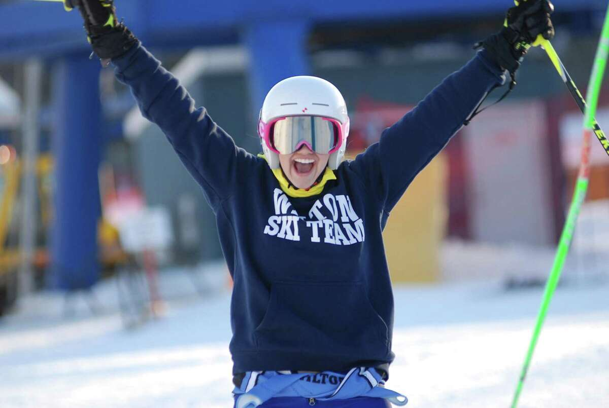 Wilton High senior ski team co-captain Katie Reid reacts during a Week 2 race of the CISL sesaon at Mount Southington.