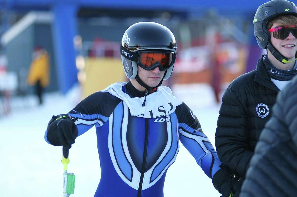 Wilton jHigh sophomore skier Dominick Polito gets ready to race during week two of the CISL ski sesaon.