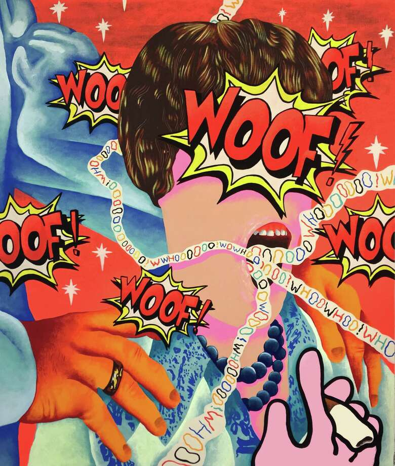 Woof, Oof, Whoo and Wow, 2017, Eben Kling, flashe on canvas, 32 x 38 in, is included in the Washington Art Association's new show, For Lack of Better Words, running from Jan. 20 to Feb. 17. Photo: Contributed Photo