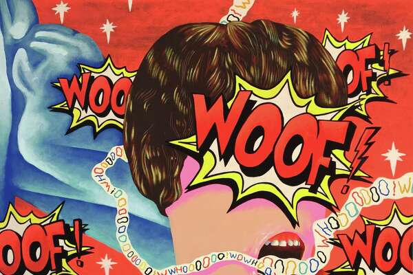 Woof, Oof, Whoo and Wow, 2017, Eben Kling, flashe on canvas, 32 x 38 in, is included in the Washington Art Association's new show,For Lack of Better Words, running from Jan. 20 to Feb. 17.