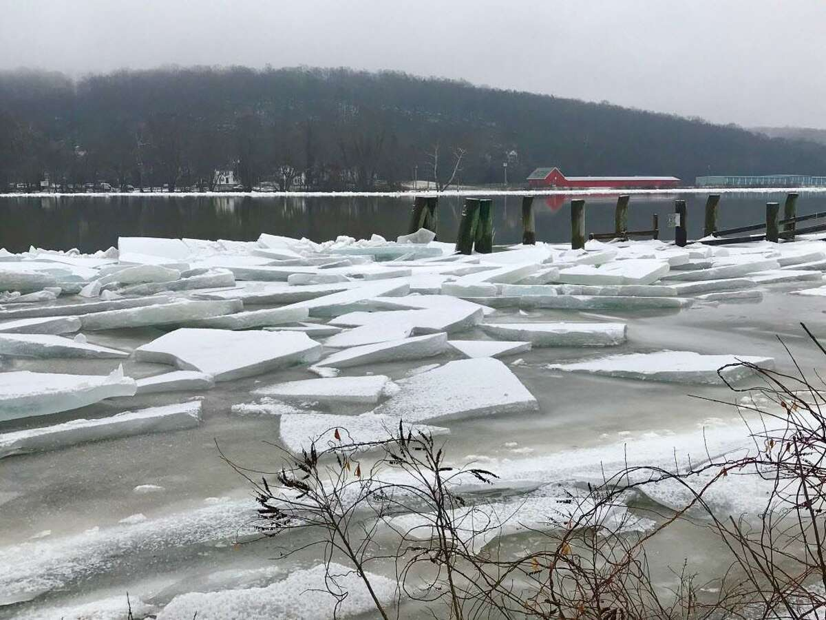 The flooded and, in parts, ice-jammed Connecticut River in upper Middlesex County Wednesday is seen from Eagle Landing State Park in Haddam