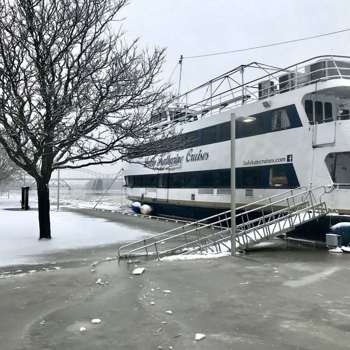 The Lady Katherine cruise ship was docked at Harbor Park in Middletown Wednesday. Some officials feared the ice could damage its bulkhead.
