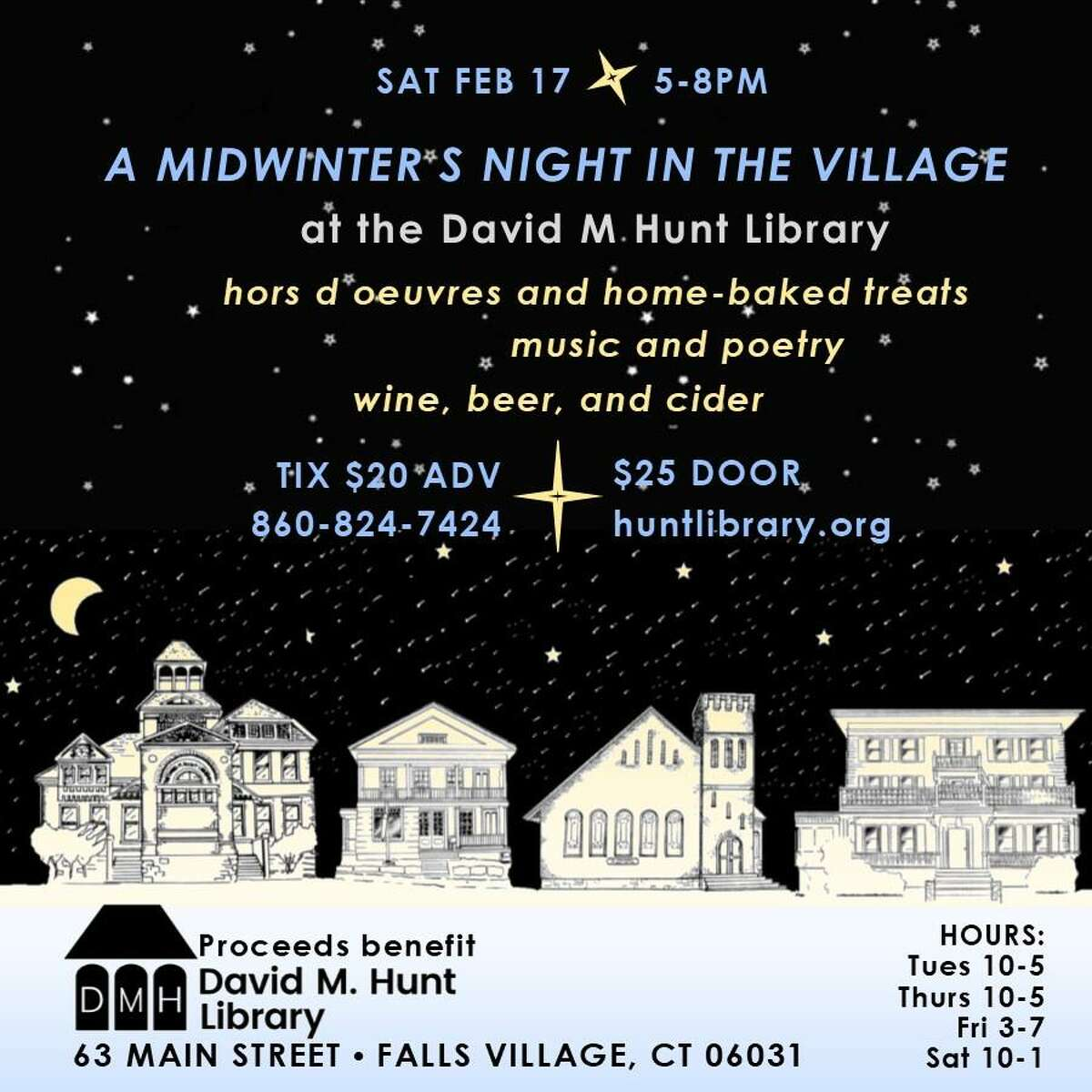 The David M. Hunt Library wil hold its annual midwinter fundraiser on Feb. 17.