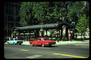 Pergola, Pioneer Square, intersection of First Ave, James Street, and Yesler Way. ca, 1960's Item No: 111203.