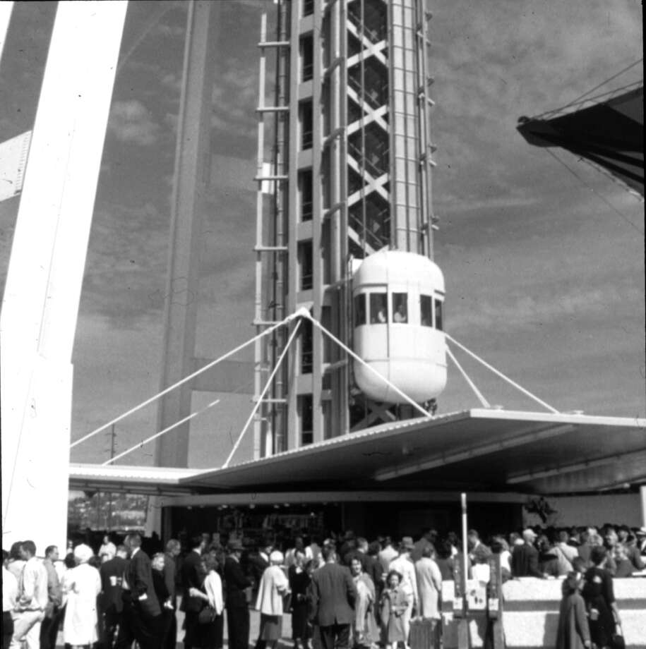 Century 21 / Seattle World's Fair 1962. [Space] Needle Elevator at Base. Item No: 73090 Photo: Courtesy Of The Seattle Municipal Archives