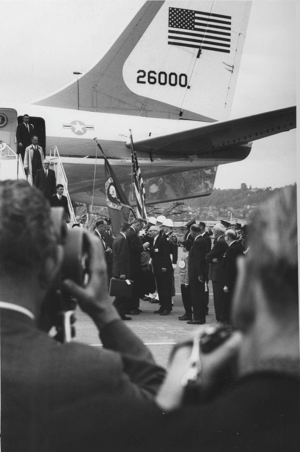Mayor J.D. Braman greeting President Lyndon B. Johnson at Seattle-Tacoma airport during the president's Canadian visit. Date: 1966. Item No: 63797