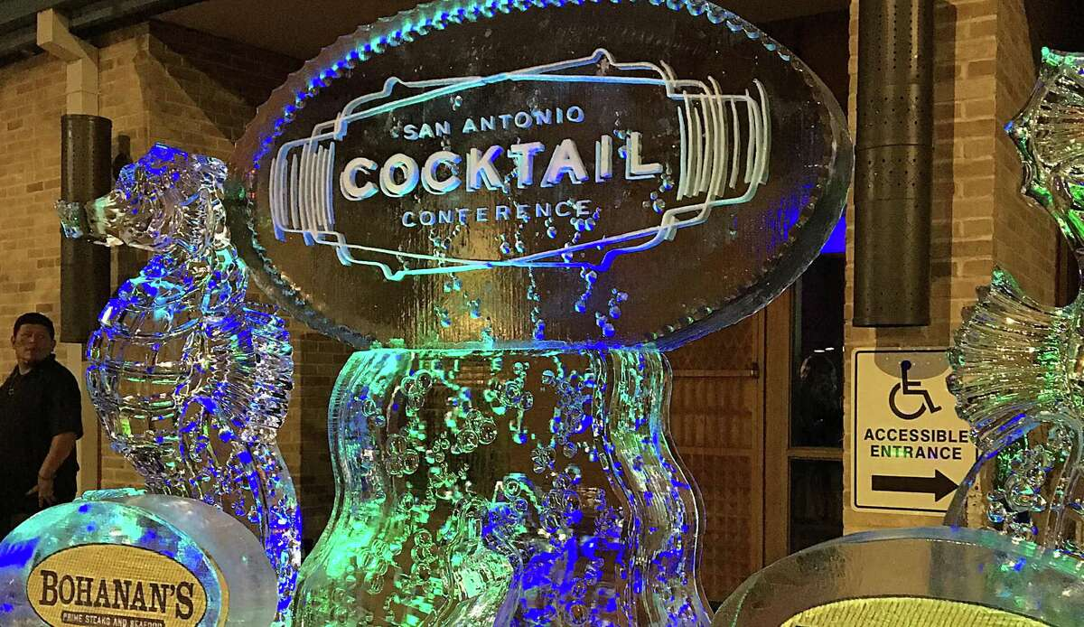 An elaborate ice sculpture at the front doors of the Villita Assembly Hall at the Cocktails Under the Sea event during the 2018 San Antonio Cocktail Conference.