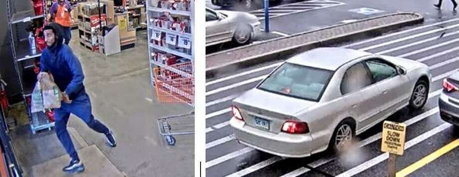 Fairfield detectives are asking for help identifying the man in the photo on the left, who allegedly stole smart thermostats and doorbells from Home Depot in December. At right is the car he got in after running from the store. Photo: Contributed Photo / Fairfield Citizen