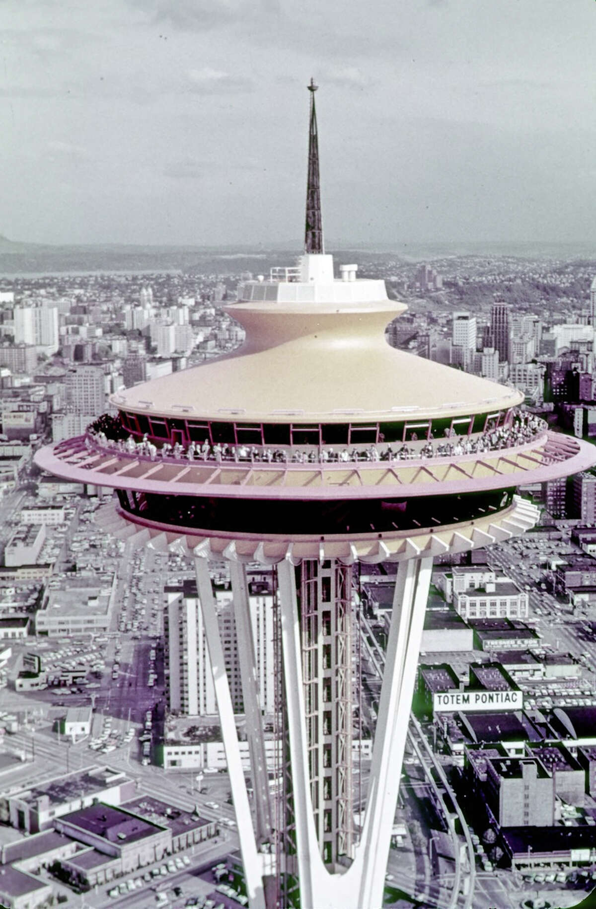 Century 21 / Close Up of Eye of [Space] Needle. Eastman Color Film. [Seattle World's Fair] Date: 1962. Item No: 73121