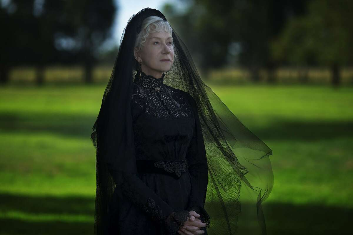 "Helen Mirren as Sarah Winchester in ""Winchester."" Sarah built San Jose's Winchester Mystery House."