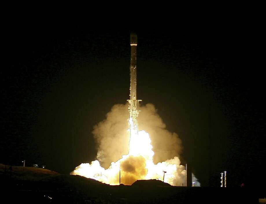 A Falcon 9 rocket lifts off from Vandenberg Air Force Base in California. The state collects a tax on space companies based on a formula that factors in the frequency of launches from California soil and the distance a spacecraft travels into space — but a new bill would end the tax. Photo: Matt Hartman, Associated Press