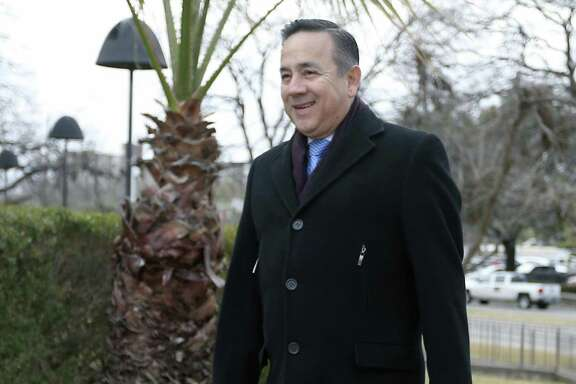 State Sen. Carlos Uresti arrives Wednesday, Jan. 17, 2018 at the John H. Wood Jr. Federal Courthouse for a pretrial conference. Uresti is accused of defrauding investors in connection with FourWinds Logistics, a now-defunct oil services company.