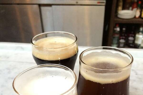 Taster glasses of the Third Man Belgian trifel, Red Headed Stranger ale and Jamison's Station porter at Brasserie Saint James in Reno.