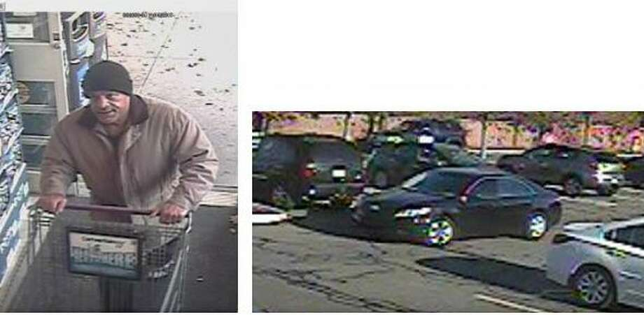 Police are looking for the man pictured in the photo on the left, who has allegedly been stealing wallets from grocery store patrons in Fairfield and Westport. At right is the car he was seen leaving in. Photo: Contributed Photo / Fairfield Citizen