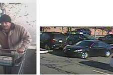 Police are looking for the man pictured in the photo on the left, who has allegedly been stealing wallets from grocery store patrons in Fairfield and Westport. At right is the car he was seen leaving in.
