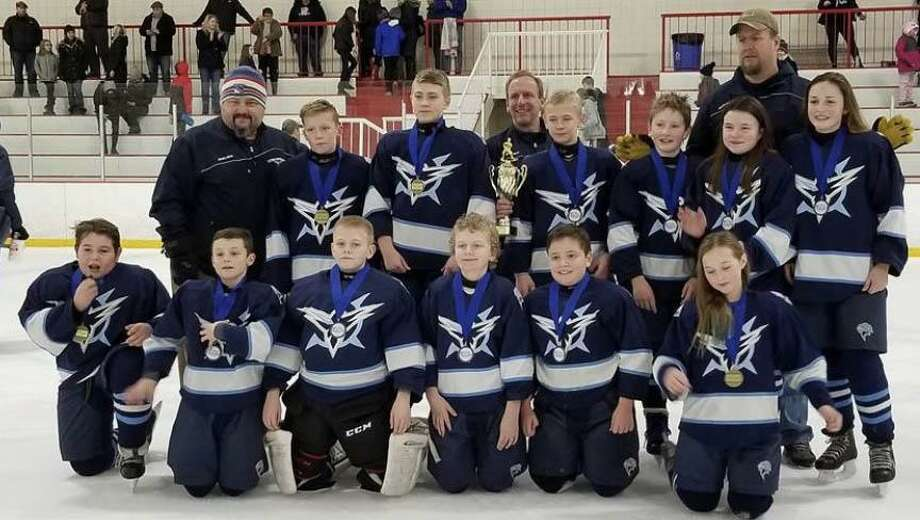The Northwest Icehawks' PeeWee B team competed and won the Jingle Bell Tournament in Marlborough, Mass, Jan. 1. The team is shown above, from left to right, in front, Ryan Manka, Tanner Johnson, Sean Hoyt, Nicholas Dorn, Zachary Kappus, Kerstin Ambruso, and in back, coach Seth Dayton, Zachary Thompson, Roman Quinn, Coach George Kappus, Ronan McKay, Trevor Sweet, Avery Dayton, Coach Mike Sweet and Grace King. Photo: Courtesy Of Northwest Icehawks / The News-Times Contributed