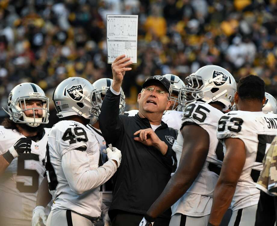 PITTSBURGH, PA - NOVEMBER 8:  Special teams coordinator Brad Seely of the Oakland Raiders shows a play chart to Ben Heeney (L), Jamize Olawale #49, Benson Mayowa #93, Malcolm Smith #53 and other players during a game against the Pittsburgh Steelers at Heinz Field on November 8, 2015 in Pittsburgh, Pennsylvania. The Steelers defeated the Raiders 38-35. (Photo by George Gojkovich/Getty Images) Photo: George Gojkovich/Getty Images