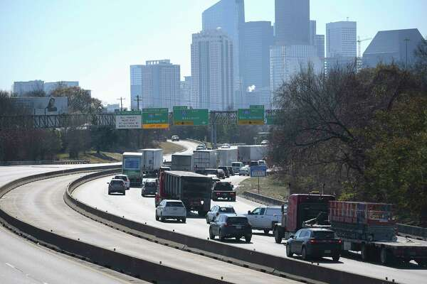 Interstate-45 southbound traffic is slowed down near the Interstate-10 ramps on Wednesday, Jan. 17, 2018, in Houston.