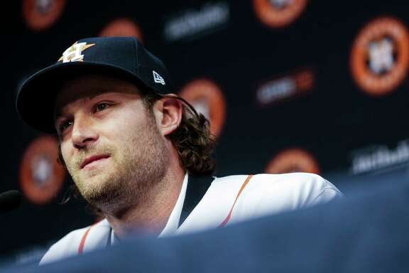 Houston Astros newly acquired pitcher Gerrit Cole speaks at a press conference after being introduced at Minute Maid Park Wednesday, Jan. 17, 2018 in Houston.