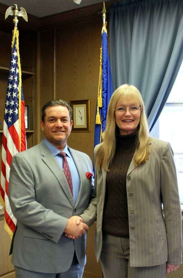West Haven Mayor Nancy Rossi welcomes new Commissioner of Planning and Development Fred Messore in her office Tuesday. Photo: Contributed Photo / Michael P. Walsh, City Of West Haven