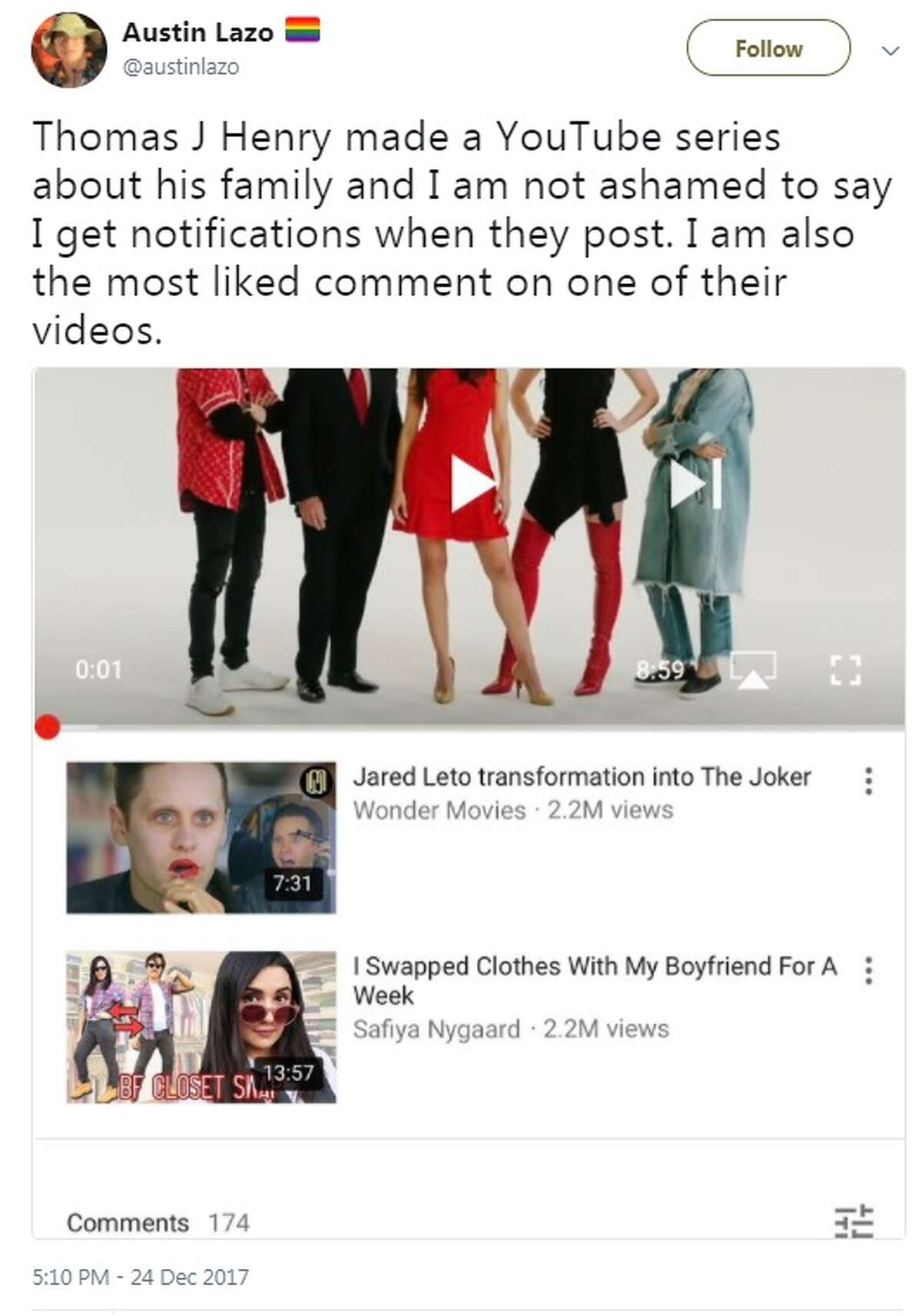 @austinlazo: Thomas J Henry made a YouTube series about his family and I am not ashamed to say I get notifications when they post. I am also the most liked comment on one of their videos.