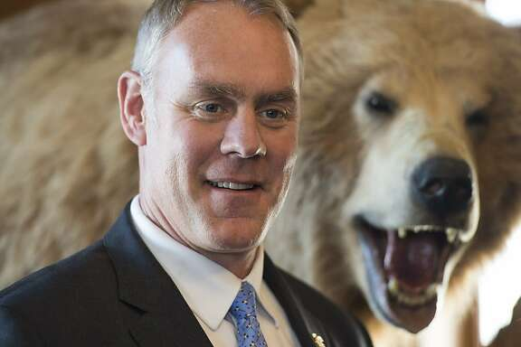Interior Secretary Ryan Zinke is seen at the Interior Department in Washington, Wednesday, March 29, 2017. (AP Photo/Molly Riley)