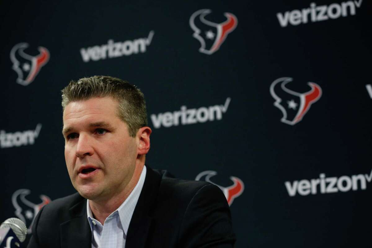 Houston Texans general manager Brian Gaine gives a statement as he arrives for his introductory news conference on Wednesday, Jan. 17, 2018, in Houston. Gaine replaces longtime general manager Rick Smith.