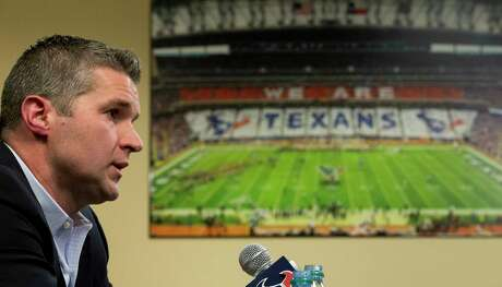 Houston Texans general manager Brian Gaine answers questions during his introductory news conference at NRG Stadium on Wednesday, Jan. 17, 2018, in Houston. Gaine is the Texans third general manger in team history.