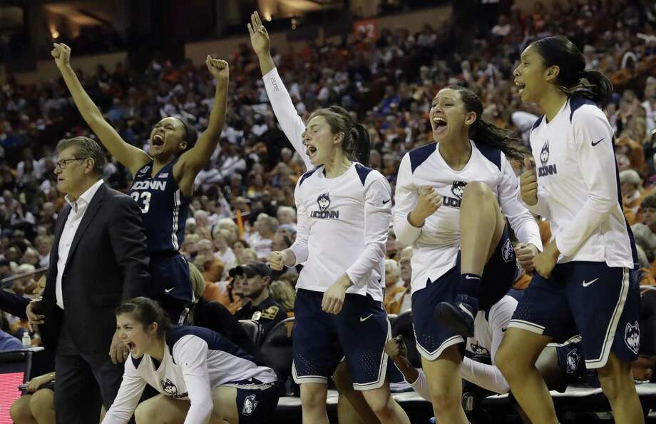 The UConn bench celebrates during the Huskies victory over Texas on Monday night in Austin, Texas. Coach Geno Auriemma would prefer that a few of his bench players force their way into the regular rotation. Photo: Eric Gay / Associated Press / Copyright 2018 The Associated Press. All rights reserved.