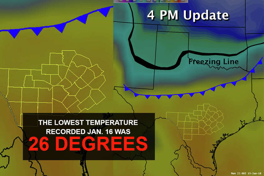 The lowest temperature recorded on Tuesday was 26 degrees, and Weather Service models showed the