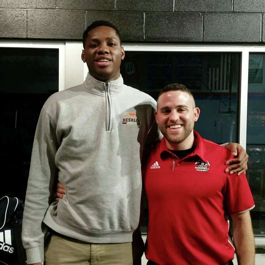 Charles Bassey with his Aspire coach Jeremy Kipness. Photo: Courtesy Larry Vaught /