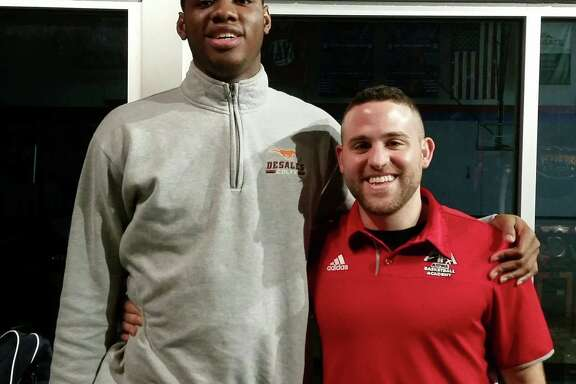 Charles Bassey with his Aspire coach Jeremy Kipness.