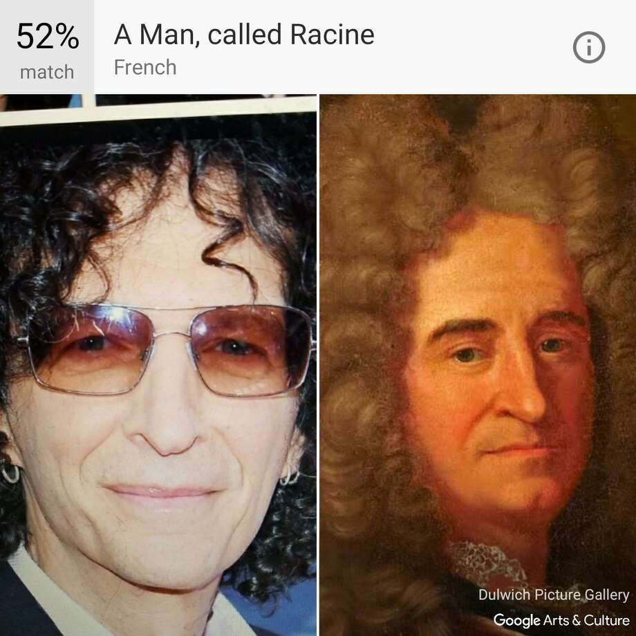"""Google's Arts & Culture app compares your selfies to classic works of art and provides the best match, like this image of Howard Stern compared to """"A Man, called Racine."""" That is, unless you live in Texas or Illinois, where the feature isn't available. Photo: Dulwich Picture Gallery /Google"""