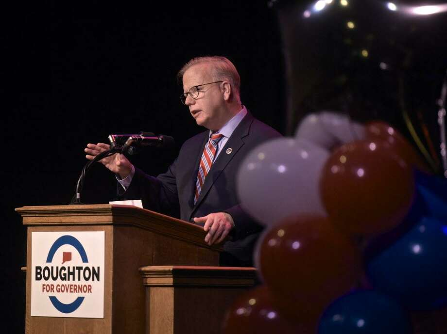 Danbury Mayor Mark Boughton speaks during a rally at the Place Theatre, in Danbury, on Tuesday evening, after announcing his plans to run for governor earlier in the day. Tuesday, January 9, 208, in Danbury, Conn. Photo: H John Voorhees III / Hearst Connecticut Media / The News-Times
